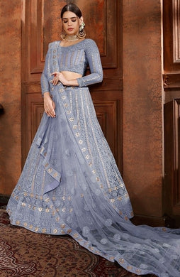 La Moda Net Blue Engagement Lehenga Pearl SF1337YDS