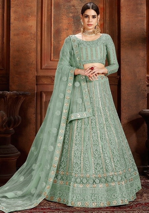La Moda Net Green Engagement Lehenga Pearl SF1334YDS - Siya Fashions