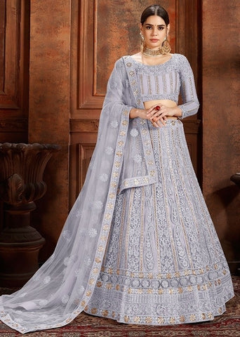 La Moda Net Grey Engagement Lehenga Pearl SF1336YDS - Siya Fashions