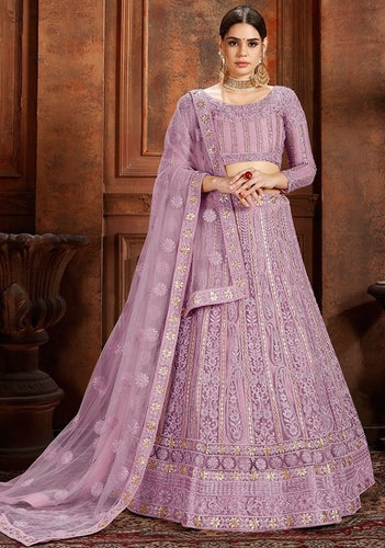 La Moda Net Purple Engagement Lehenga Pearl SF1335YDS