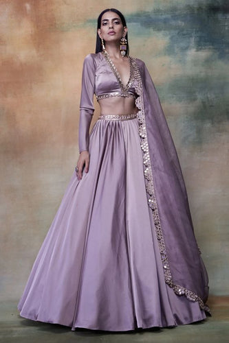 Lilac Wedding Lehenga Silk Mirror Work  SFINS1278 - Siya Fashions