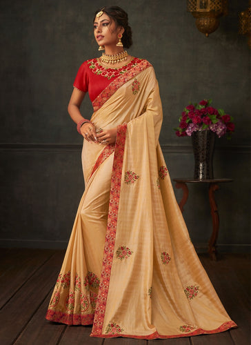 Lush Gold Designer Party Wear Saree In Silk SIYA1011YDS