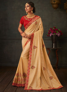 Lush Gold Designer Party Wear Saree In Silk SIYA1011YDS - Siya Fashions