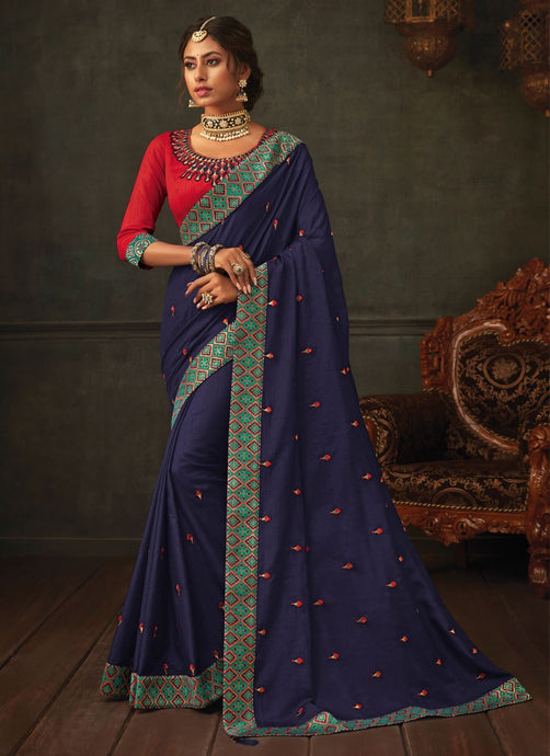 Lush Navy Designer Party Wear Saree In Silk SIYA1009YDS - Siya Fashions
