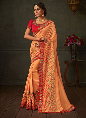 Lush Orange Lush Designer Party Wear Saree In Silk SIYA1013YDS - Siya Fashions