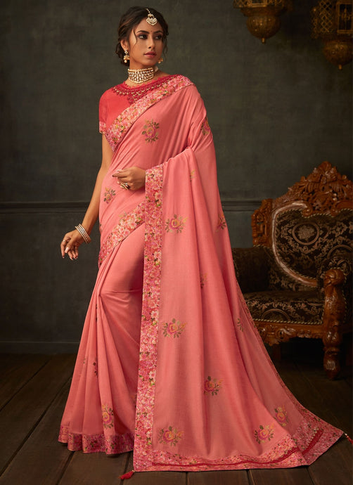Lush Peach Designer Party Wear Saree In Silk SIYA2009YDS - Siya Fashions