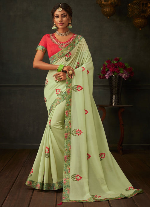 Lush Pista Green Designer Party Wear Saree In Silk SIYA1014YDS - Siya Fashions