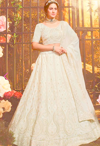 Luxury Pret Wedding Ivery Reception Lehenga Georgette BRI43 - Siya Fashions