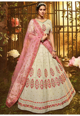 Luxury Pret Wedding Ivory Floral Reception Lehenga Georgette BRI45 - Siya Fashions