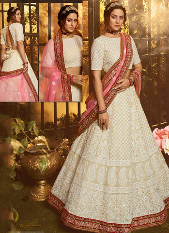 Luxury Pret Wedding Reception Lehenga Red Dupatta Georgette SD054 - Siya Fashions