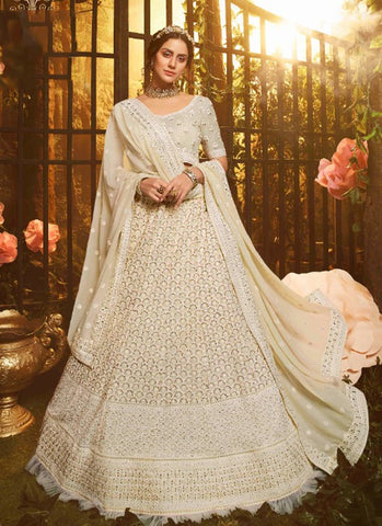 Luxury Pret Wedding White Reception Lehenga Ivory Dupatta Georgette SD057 - Siya Fashions