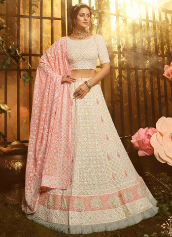 Luxury Pret Wedding White Reception Lehenga Pink Dupatta Georgette SD055 - Siya Fashions