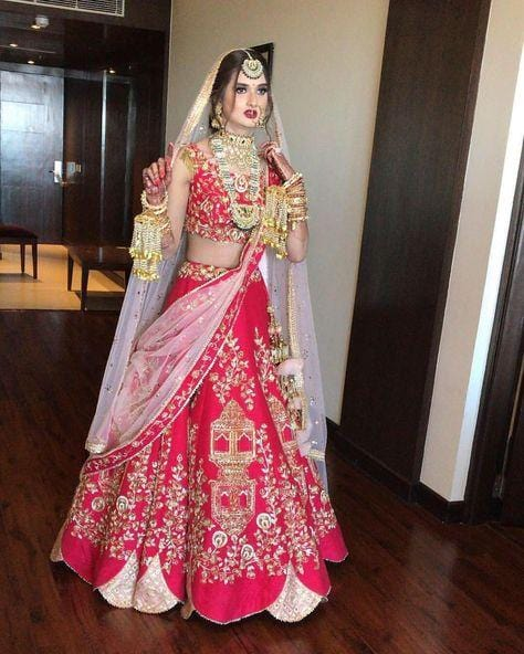 Ethnic Red Personalised Bridal Wedding Lehenga SFIN342