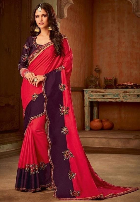 Magenta Plum Silk Saree Floral Patch SIYA8839D - Siya Fashions