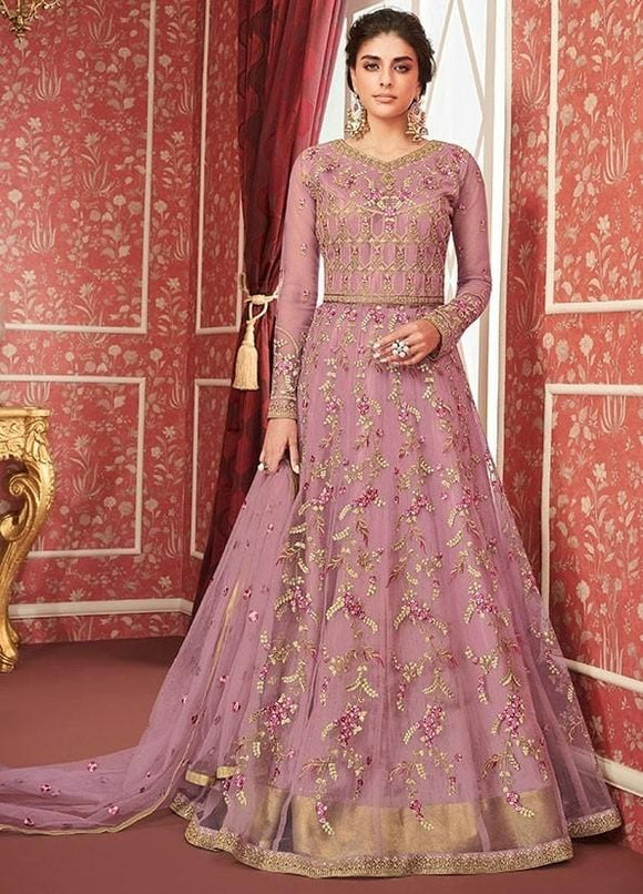 Magnificent Rose Pink Bridal Gown Butta Work In Net SIYA0100