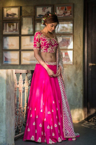 Maira Hot Pink Wedding Lehenga Set SIYAINS332 - Siya Fashions