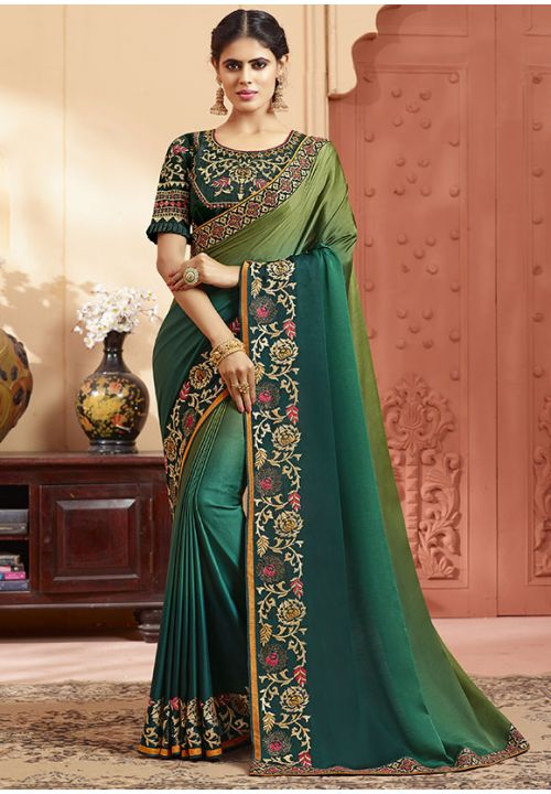 Mehendi Green Online Asian Wedding Saree With Blouse SIYA348YDS - Siya Fashions