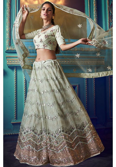 Mint Green Cocktail Wedding Reception Net Lehenga Set SF32WD - Siya Fashions