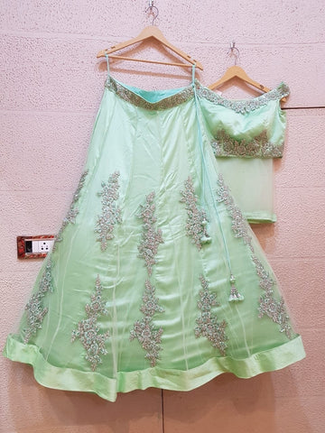 Mint Ready To Wear Lehenga With Intricate Embroidery SFR9822 - Siya Fashions