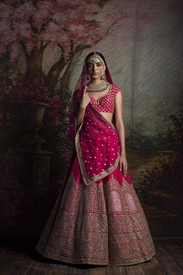 Miraculous Red Fuchsia Bridal Wear Lehenga Choli In Silk SFIN226 - Siya Fashions