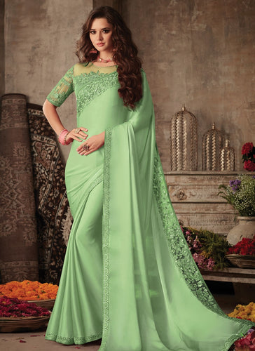 Modish Lime Satin Georgette Trendy Pary Saree SIYA105FZ - Siya Fashions