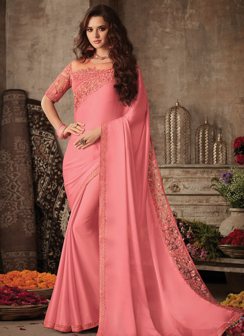 Modish Peach Satin Georgette Trendy Pary Saree SIYA106FZ - Siya Fashions
