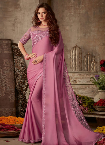 Modish Pink Satin Georgette Trendy Pary Saree SIYA101FZ - Siya Fashions