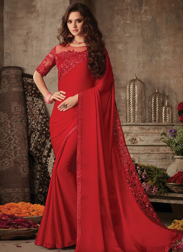 Modish Red Satin Georgette Trendy Pary Saree SIYA107FZ - Siya Fashions