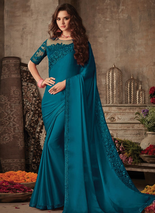 Modish Teal Satin Georgette Trendy Pary Saree SIYA103FZ - Siya Fashions