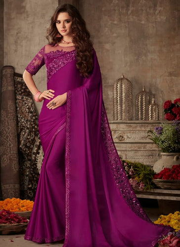 Modish Wine Satin Georgette Trendy Pary Saree SIYA104FZ - Siya Fashions
