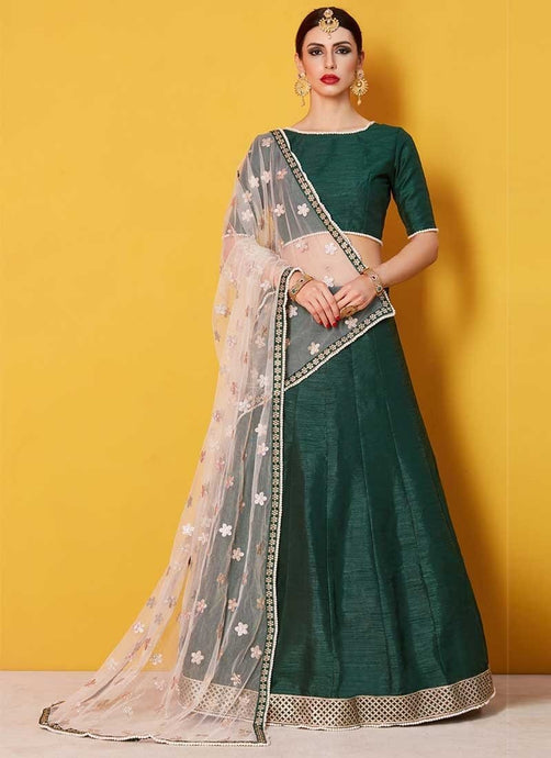 Moti Work Art Silk Lehenga Choli In Green SF0092SD - Siya Fashions