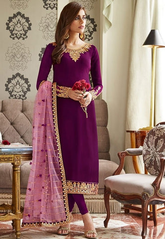 Mulberry Purple Churidar In Georgette Fabric SIYA0300 - Siya Fashions