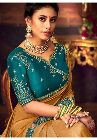 Mustard Gold Silk Saree Teal Dupion Blouse With Stone Work YDS124SF - Siya Fashions