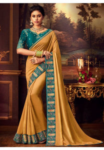 Mustard Gold Silk Saree Teal Dupion Blouse With Stone Work YDS124SF