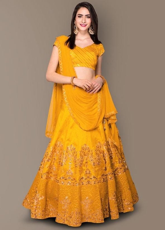 Mustard Yellow Color Silk Fabric Lehenga Choli SY97467