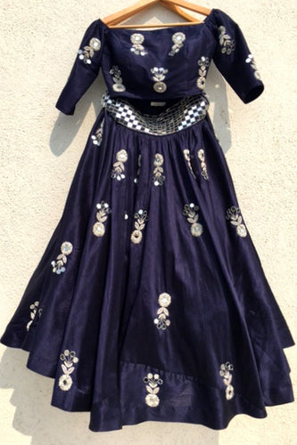Navy Blue Lehenga With Mirror Work SFAN3005. - Siya Fashions