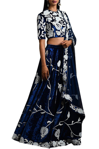 Navy Velvet Wedding Cocktail Reception Lehenga SFIN102 - Siya Fashions