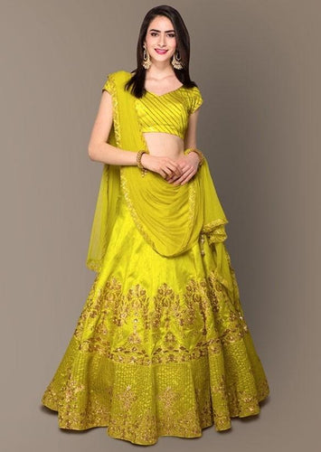Neon Green Color Silk Fabric Lehenga Choli SY97459 - Siya Fashions