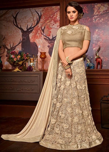 Nova Beige Party Saree In Floral Net Pearl Lace SIY211 - Siya Fashions