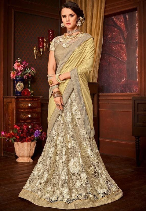 Nova Gold Party Saree Floral Net Pearl SIY214 - Siya Fashions