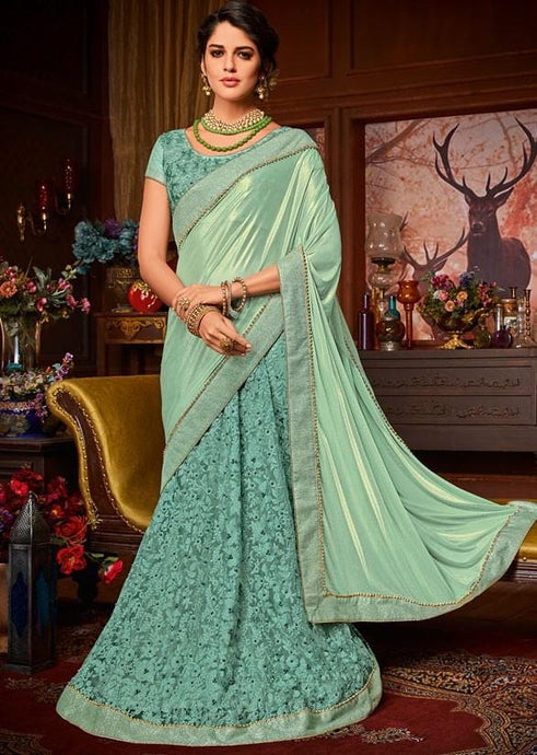 Nova Green Party Saree In Floral Net Pearl Lace SIY212 - Siya Fashions