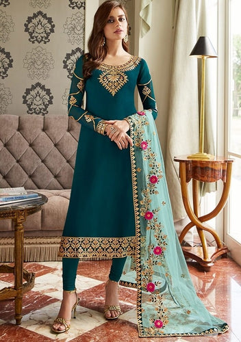 Ocean Blue Churidar In Georgette Fabric SIYA0297 - Siya Fashions