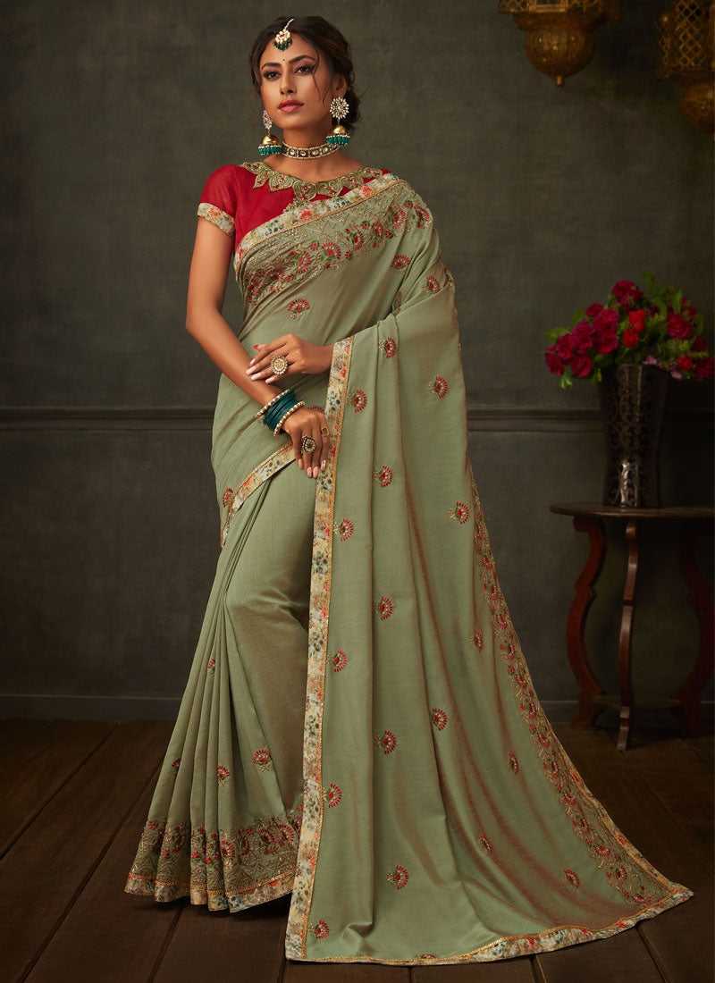 Olive Green Designer Party Wear Saree In Silk SIYA2008YDS - Siya Fashions