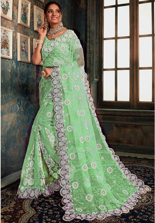 Online Green Indian Wedding Saree In Net Fabric SIYA25570YDS - Siya Fashions