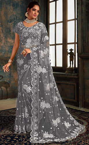 Online Grey Indian Wedding Saree In Net Fabric SIYA25572YDS