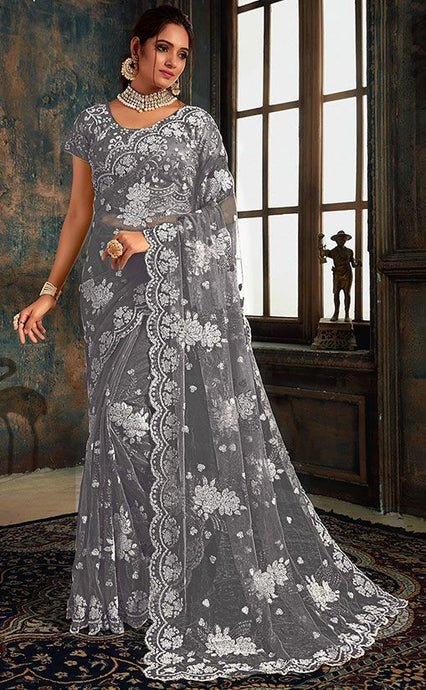 Online Grey Indian Wedding Saree In Net Fabric SIYA25572YDS - Siya Fashions