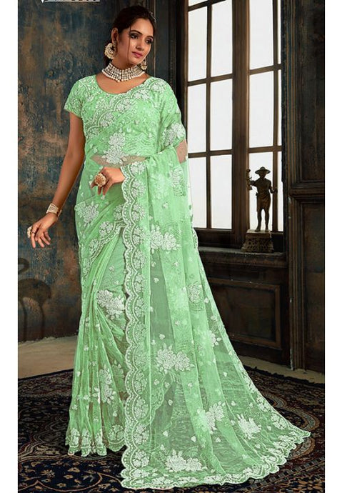 Online Mint Green Indian Wedding Saree In Net Fabric SIYA25571YDS - Siya Fashions