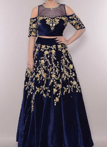 Online Blue Velvet Embroidery Cold Shoulder Lehenga SFCL943 - Siya Fashions