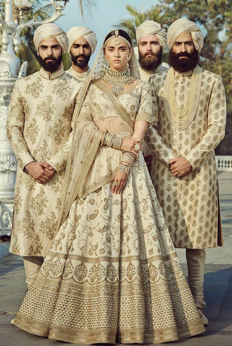 Sabyasachi Inspired Cream Bridal Lehenga Fully Stitched SFAF801 - Siya Fashions
