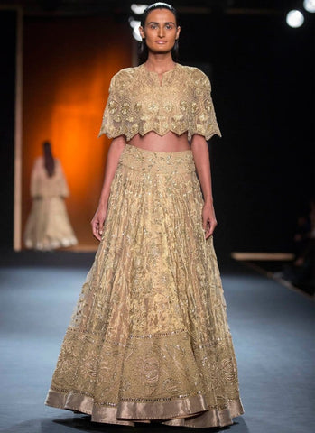 Online Wedding Reception Lehenga In Brass Net - Siya Fashions